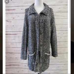 Eileen Fisher black white knit sweater jacket S